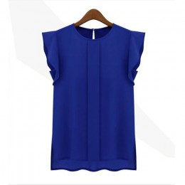 Bluzka zwiewna elegancka klasyczna bez rękawów pod szyję z falbankami niebieska różowa zielona modna oryginalna