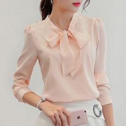 Klasyczna elegancka modna bluzka damska z długim rękawem z ozdobną kokardą prosta z bufkami