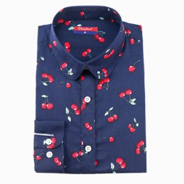 2019 Floral kobiety bluzki z długim rękawem koszula bawełniane koszule damskie wiśni na co dzień panie topy zwierząt drukuj bluz