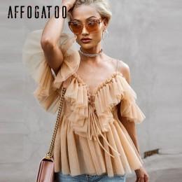 Affogatoo Sexy v neck off ramię peplum bluzka top kobiety plisowana w stylu vintage wzburzyć mesh bluzka koszula dorywczo lato t