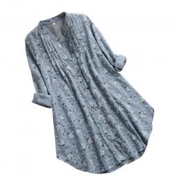 Damskie bluzki z dekoltem w serek plisowane kwiatowy druku z długim rękawem Casual bluzki bluzka Dames bluzki Lange Mouwen Blusa