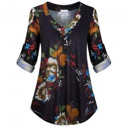 5XL Plus rozmiar kobiety tunika koszula 2018 jesień z długim rękawem kwiatowy Print, dekolt w szpic, bluzki i topy z przycisk du