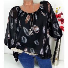 Modna elegancka zwiewna bluzka damska dekolt w łódkę luźna koszulowa oryginalny wzór w pióra z rękawkiem do łokcia