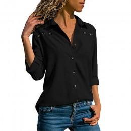 Kobiet topy bluzki 2019 wiosna elegancka bluzka z długim rękawem koszula skręcić w dół kołnierz szyfonowa bluzka koszule do biur