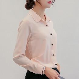 BIBOYAMALL biała bluzka kobiety szyfonowa biuro kariera koszulki z krótkim rękawem topy moda na co dzień z długim rękawem bluzki