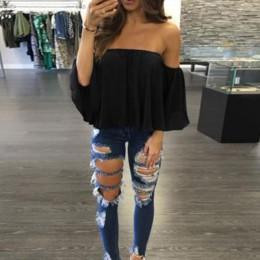 Moda kobiety Off Shoulder Top z długim rękawem sweter na co dzień bluzka Hals Langarm szyfonowa Schulter szyfonowa bluzka 2018 G