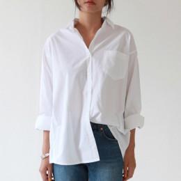 Modna biała koszula damska klasyczna bawełniana z kołnierzykiem oversizowa elegancka z kieszonką na piersi