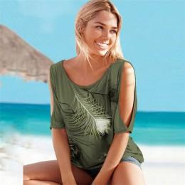"""2019 lato kobiety bluzki na co dzień z krótkim rękawem topy koszulki Sexy Off ramię z dekoltem w kształcie litery """"o"""" z piór dru"""