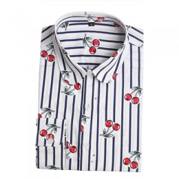 Dioufond nowy kwiatowy z długim rękawem w stylu Vintage bluzka Cherry skręcić w dół kołnierz koszula Blusas Feminino damskie blu
