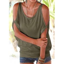 Luźna zwiewna oversize bluzka damska klasyczna z głębokim dekoltem wiązana na szyi z krótkim efektownym rękawem