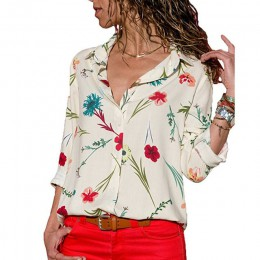 Bluzka koszulowa w kwiaty z długim rękawem luźna zwiewna modna asymetryczny dekolt romantyczna wizytowa