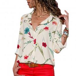 Kobiety bluzki 2019 kwiatowy wzór z długim rękawem skręcić w dół kołnierz bluzka damska koszule w paski tunika Plus rozmiar Blus