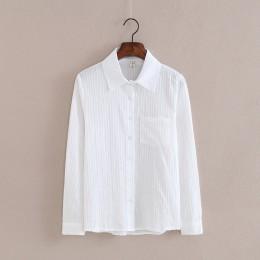 Foxmertor 100% bawełna koszula wysokiej jakości kobiety bluzka jesień z długim rękawem stałe białe koszule Slim kobiet na co dzi