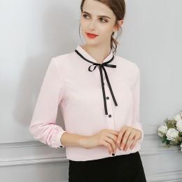 Modna elegancka szyfonowa bluzka damska z długim rękawem marszczona stójka z tasiemką dopasowana zapinana na czarne guziczki