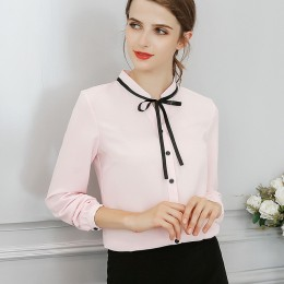 Nowa wiosna jesień topy biuro damska bluzka moda z długim rękawem łuk szczupła biała koszula kobiet słodkie Bodycon pracy bluzki