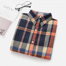 2019 nowy marka kobiety bluzki z długim rękawem koszule bawełniane czerwone i czarne flanela Plaid Shirt na co dzień kobiet Plus