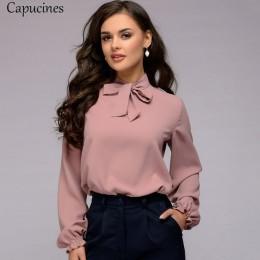 Elegancka koszula klasyczna luźna przewiewna z ozdobną kokardą fioletowa różowa ozdobna