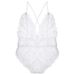 Seksowna bielizna erotyczna kobiety koronkowe body miękka bielizna poprzeczne paski Bodystocking kostiumy jeden kawałek nocna bi