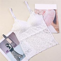 Seksowny koronkowy top damski na cieniutkich ramiączkach usztywniany biustonosz zmysłowa bluzeczka kolor biały bordowy