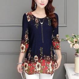 2019 New Arrival moda lato trzy czwarte szczupła kwiatowy długa koszula kobiet na co dzień Slim kolor Plus rozmiar elegancki blu