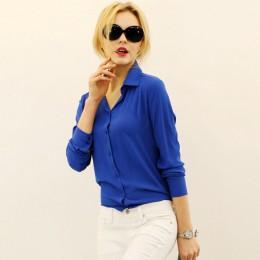 Kobiety bluzki sprzedaż bezpośrednia przycisk stałe 2019 jesień nowa koszula z długim rękawem kobieta szyfonowa damska Slim odzi