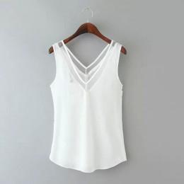 Elegancka bluzka damska bez rękawów szyfonowa z głębokim dekoltem z siateczką biała czarna wizytowa modna