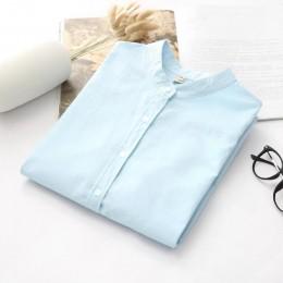 Z długim rękawem biały niebieski kobiet Oxford koszule Plus rozmiar 2019 nowy na co dzień kobieta biuro bluzka kobiet nosić wyso