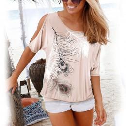 Modna elegancka oversizowa zwiewna bluzka damska z motywem delikatnych piór rękaw do łokcia z efektownym rozcięciem