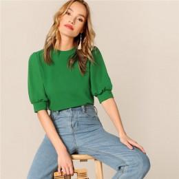 SHEIN damskie na co dzień zielony Puff rękawem dziurka od klucza z litego materiału i bluzka kobiety 2019 letnia odzież robocza