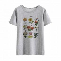 Wildflower koszulki z nadrukami kobiet kwiatowy Print lato nowy mody kobiety topy duży rozmiar luźne Harajuku krótki rękaw O-nec
