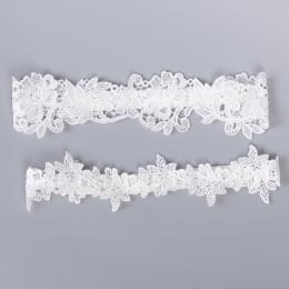 Zmysłowe podwiązki wykonane z delikatnej koronki kolor biały błękitny weselna studniówkowa noc poślubna bielizna okolicznościowa