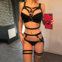 Seksowna bielizna Erotyczna uprząż BDSM pas do pończoch dla kobiet biustonosz talia