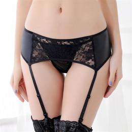 XL/XXL/XXL bielizna damska duże rozmiary Sexy czarny PU skórzany pas do pończoch dla pończochy Sheer koronki kwiatowy Sexy szelk