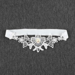 Podwiązka ślubna Rhinestone biały haft kwiat Sexy podwiązki dla kobiet/kobiet/Bride udo pierścień Bridal nogi podwiązki