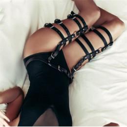 Kobiety uprząż pasy ciała Sexy podwiązki Bondage czarny skórzany pasek Punk pasek zespół od talii do nogi regulowane szelki pońc