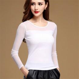 Damskie bluzki koszula czarny biały Sexy długie na co dzień z długim rękawem koronki Blusas pod koszule elastyczne popy i bluzki