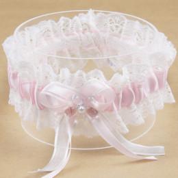 Różowy Bowknot perła kwiat taśma koronkowa księżniczka marzenie panny młodej do pończoch materiały ślubne elastyczna podwiązka n