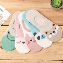 5 par/partia kobiety skarpetki cukierki kolor małe zwierzę kreskówki wzór łódź skarpety na lato oddychające na co dzień dziewczy