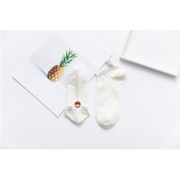 Kawaii haftowane wyrażenie cukierki kolor kobiety skarpetki szczęśliwy moda dziewczyny kostki śmieszne skarpetki kobiety bawełna