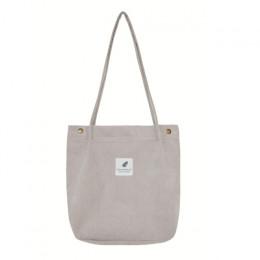 Mara sen o dużej pojemności kobiet sztruks torba damska Casual jednolity kolor torba na ramię składany wielokrotnego użytku na z