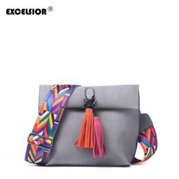 EXCELSIOR kobiet torba peeling PU Crossbody torby luksusowe torebki damskie torby projektant bolso mujer kolorowy pasek sac głów