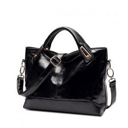 Skórzana elegancka torebka damska z rączkami z paskiem duża pakowna czarna bordowa brązowa