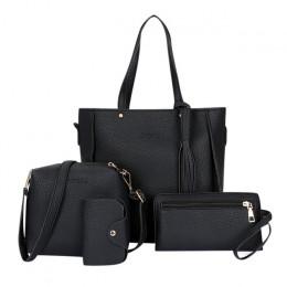 ISHOWTIENDA 4 sztuk kobieta torba zestaw moda torebka damska i torebka cztery-torba na ramię dużego ciężaru listonoszówka torba