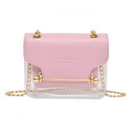 Mała torebka na ramię na łańcuszku czarna różowa złota srebrna transparentna przezroczysta pakowna