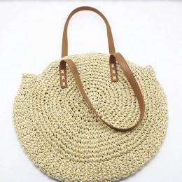 Torebka damska rattanowa wiklinowa na skórzanych ramiączkach modna na plażę na lato na wakacje