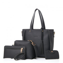 Torba kobieca zestaw Top-Handle duża pojemność kobiet Tassel torebka moda torba na ramię torebka damska PU Leather Crossbody tor