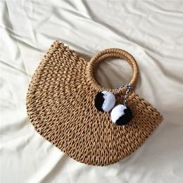 2018 nowa letnia ręcznie robione torebki damskie torebki damskie Pompon plażowe tkania panie słomy torba owinięta plaża torba w