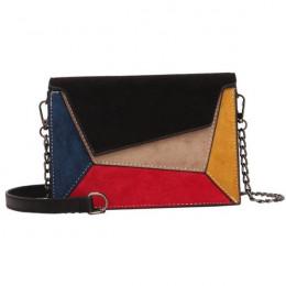 Yogodlns Retro matowy Patchwork Crossbody torby dla kobiet Messenger torby łańcuch pasek torba na ramię pani mała klapa na krzyż