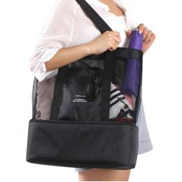 O dużej pojemności kobiety Mesh przezroczysta torba podwójna warstwa zachowania ciepła duży piknik torby plażowe WML99