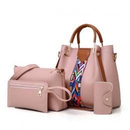 Kobiety torby z zapięciem panie torebka nowa marka 4 zestaw torba na ramię miękkie wysokiej jakości PU torba na co dzień, żeński